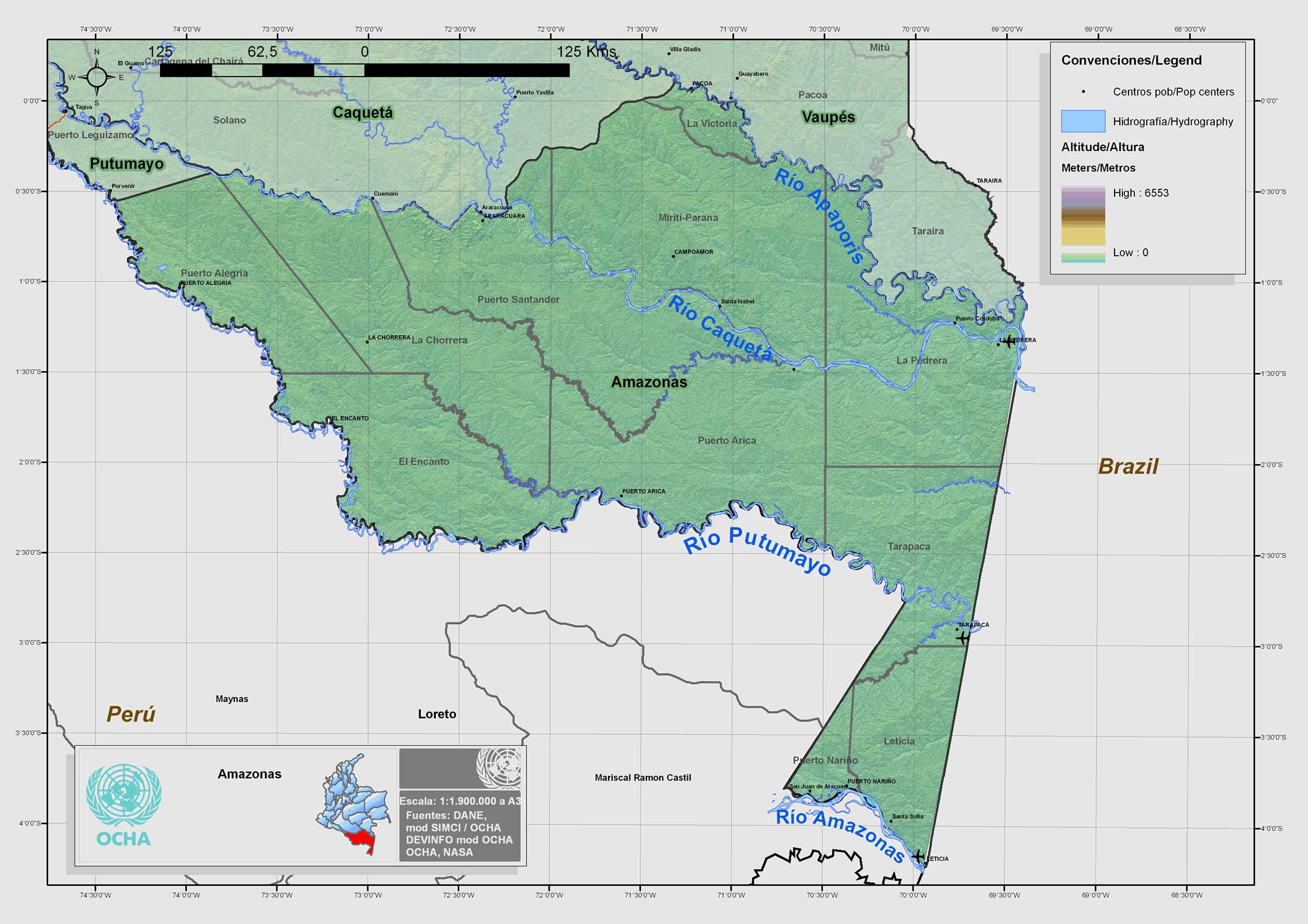 Mapa físico de Amazonas