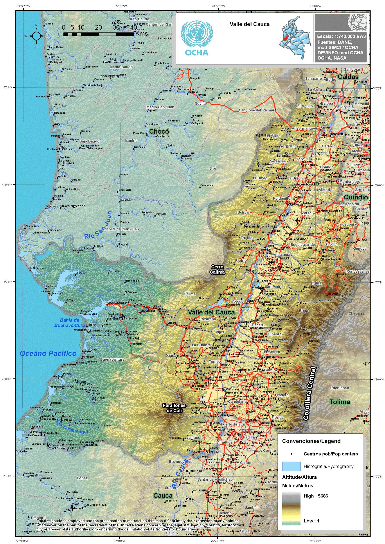mapa rios valle del cauca