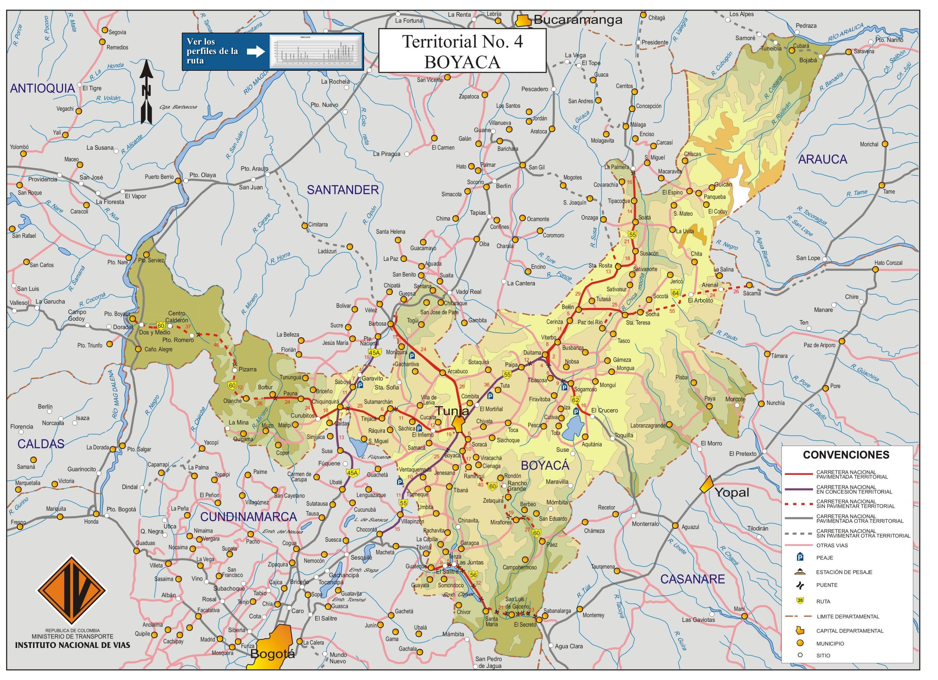 Corrales Boyaca Mapa Mapa de Carreteras de Boyacá