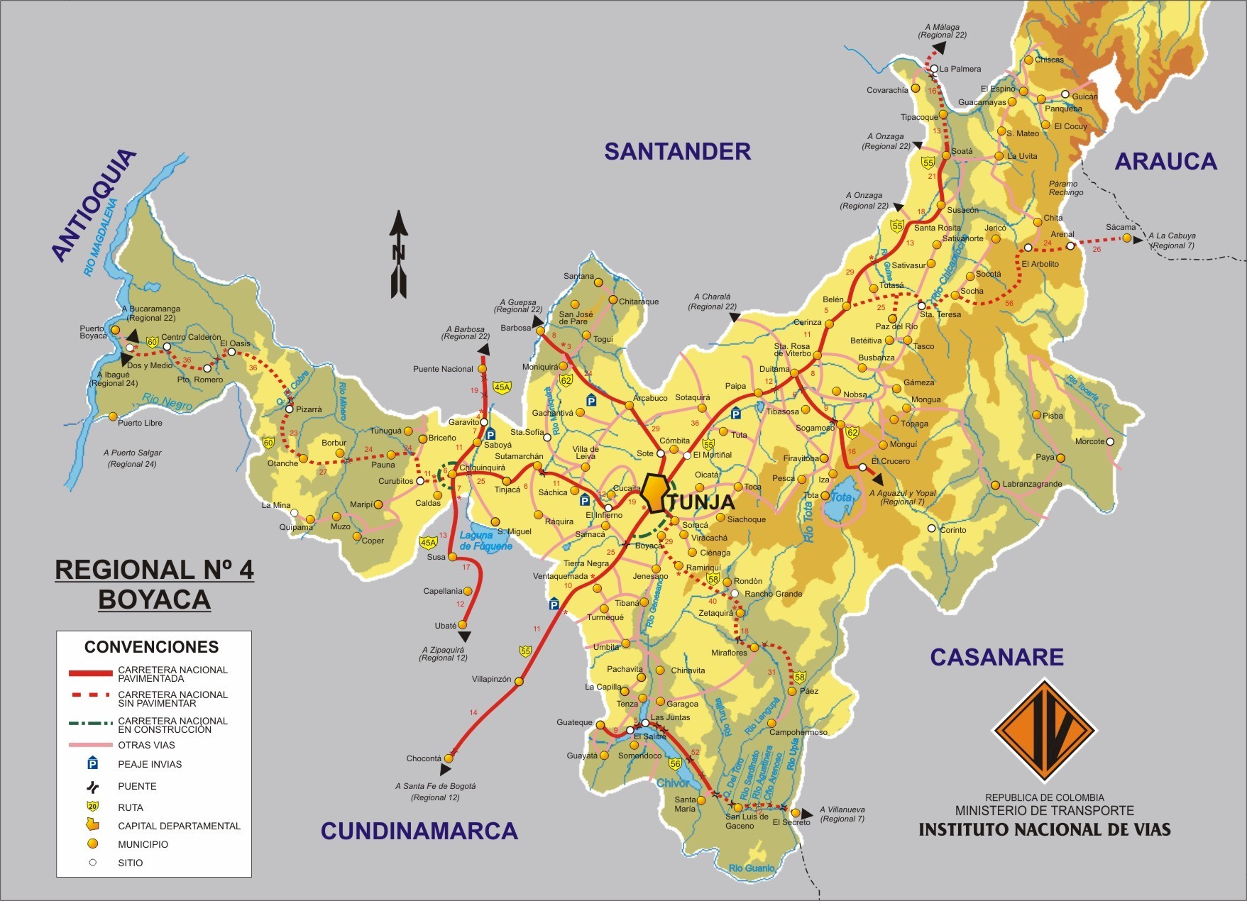 Mapa de Boyaca Colombia Mapa de Boyaca Colombia
