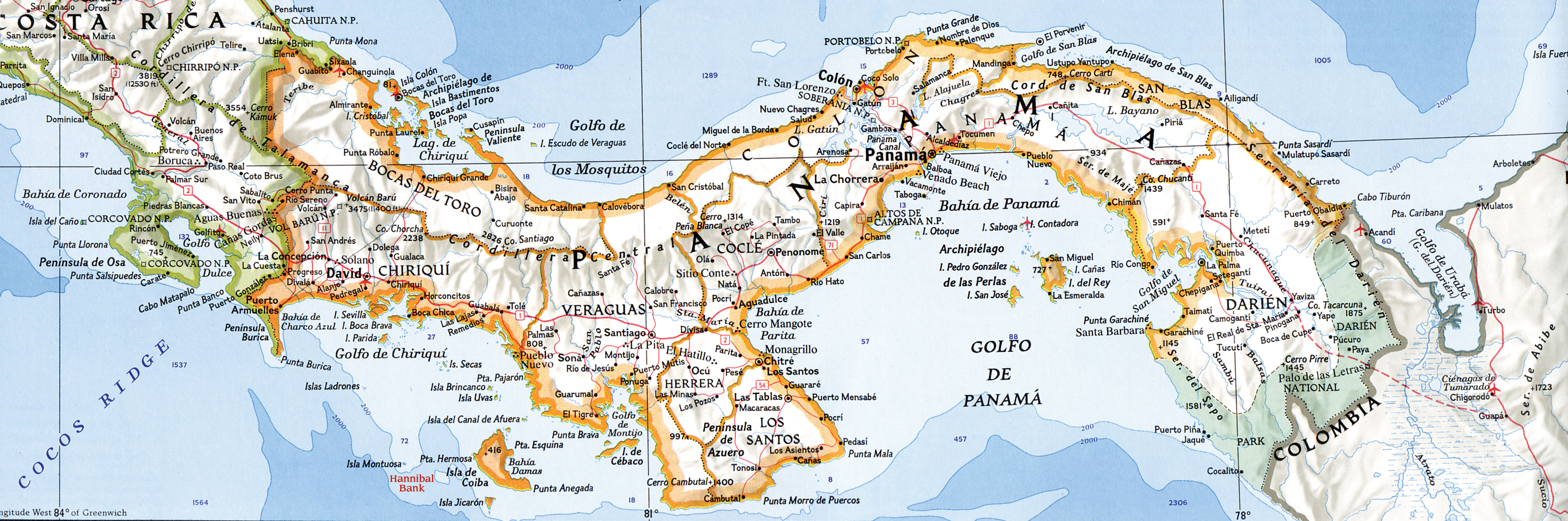 Mapa de Panamá - Tamaño completo MAPA DE PANAMA