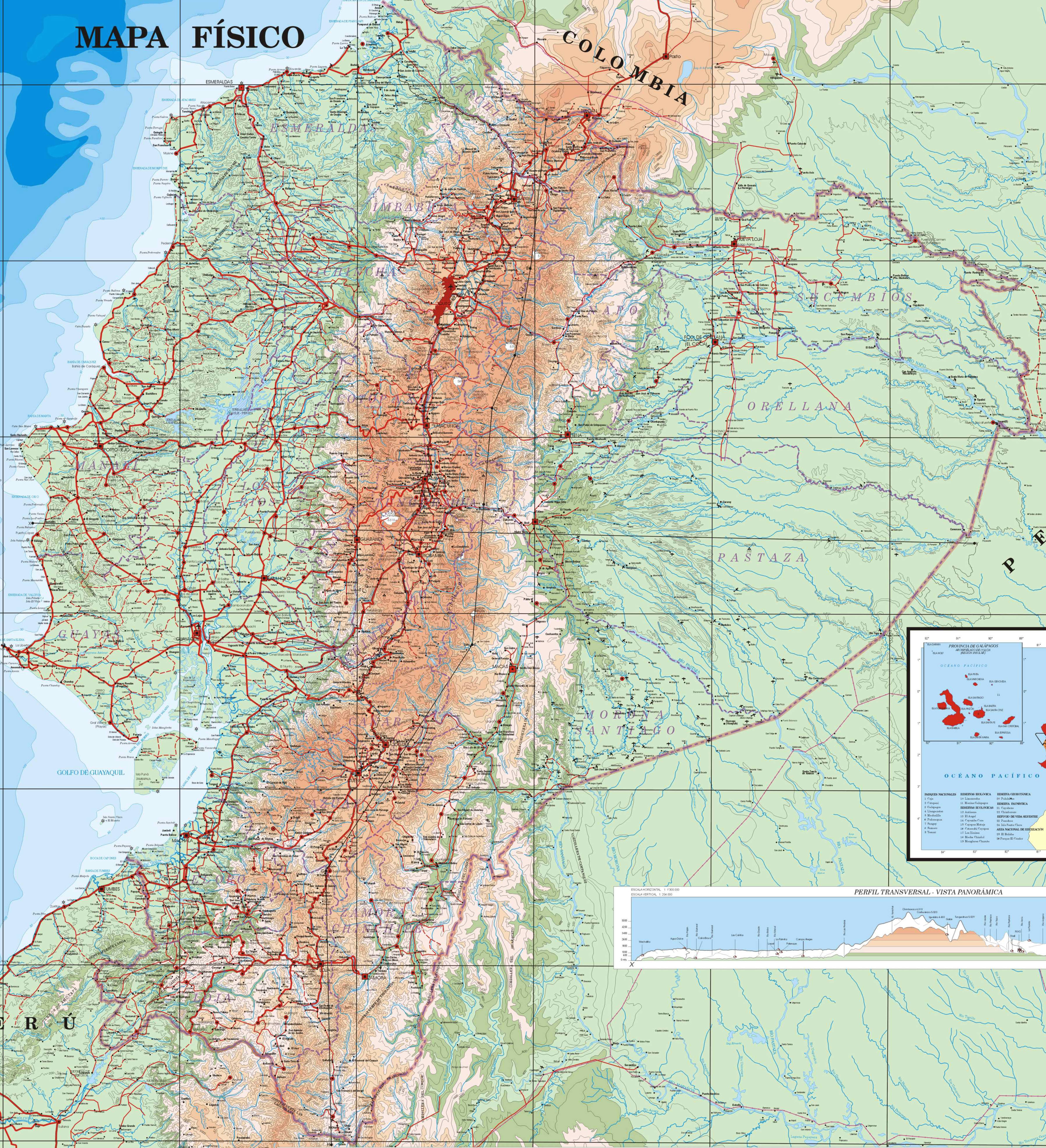 Ecuador Highway Map