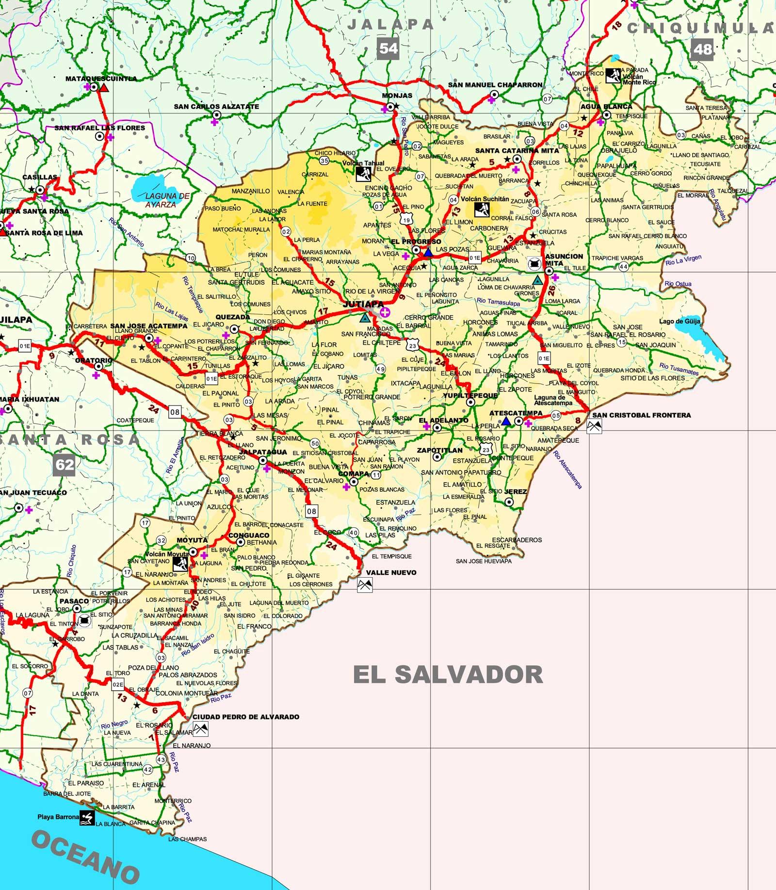Jutiapa Guatemala Map Map of Jutiapa