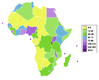 Population density in Africa 2006