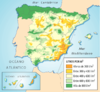 Average yearly precipitation in Spain
