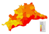 Population density of the province of Málaga 2008
