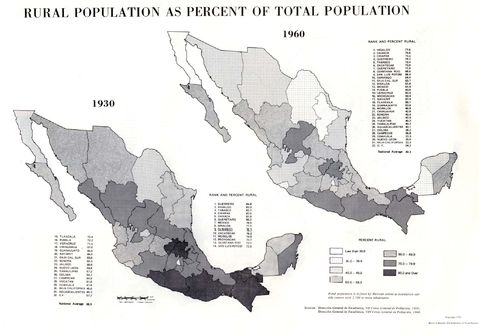 Rural Population as Percent of Total Population of Mexico 1930, 1960