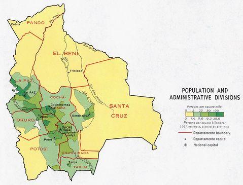 Bolivia Administrative Divisions 1971