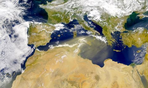 Dust Blowing Over the Mediterranean