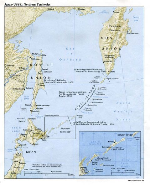 Northern Territories Physical Map, Japan-Russia 1988