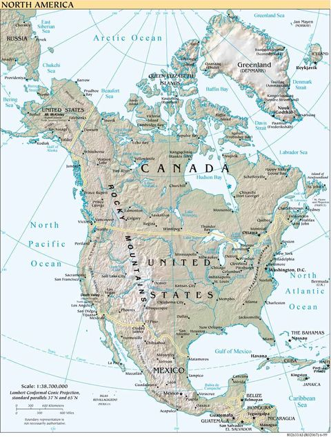 Ykearywyr Physical Map Of Us And Canada - Physical map of usa and canada