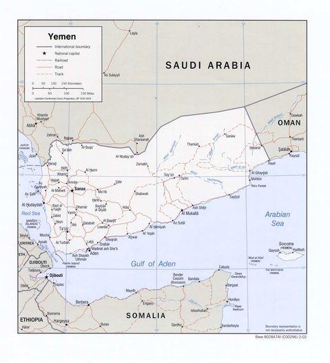 political map of yemen. Yemen Political Map 2002