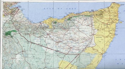 map of somalia africa. Topographic Map of Northern
