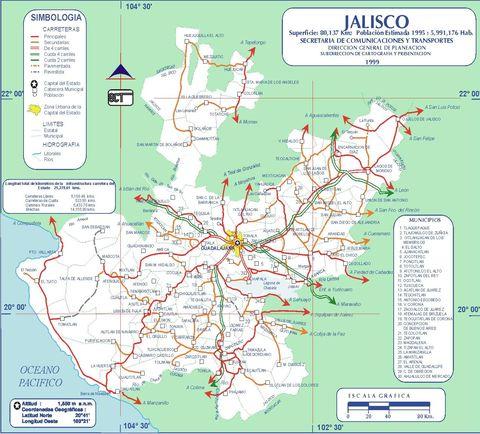 Mapa de carreteras de Jalisco 1999 - Jalisco