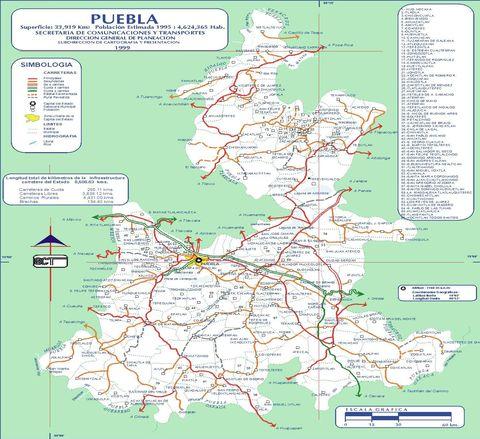 Mapa de carreteras de Puebla 1999 - Puebla