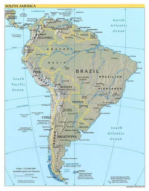 Map Of Latin America Physical. South America physical map