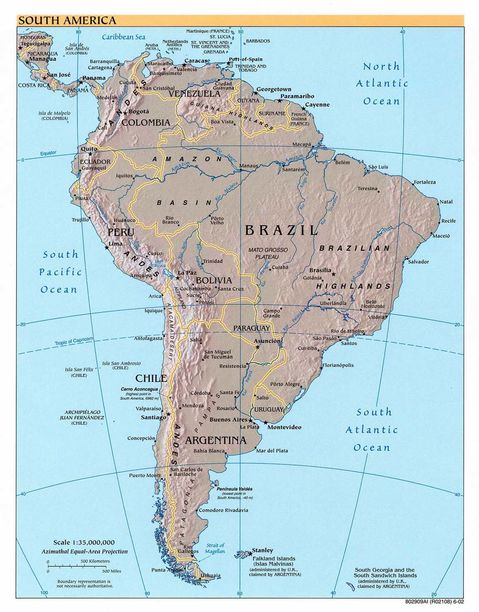 Obryadii Physical Map Of South America And Central America - Central america caribbean physical map 2002