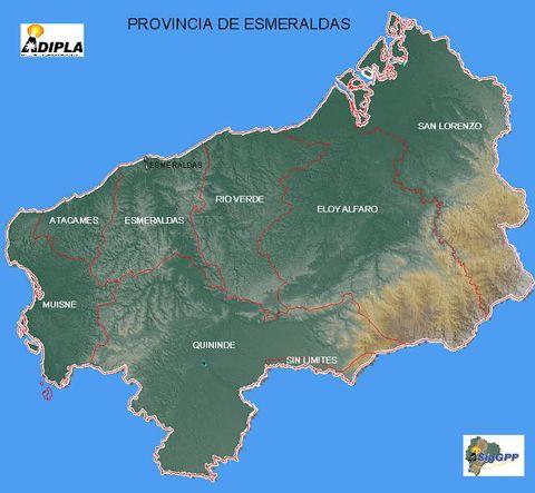 Mapa físico de Esmeraldas