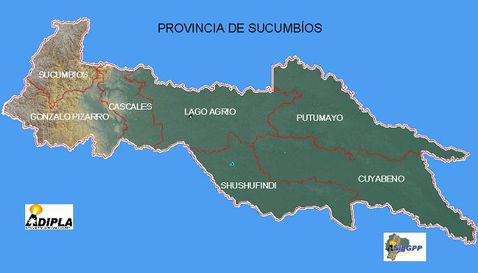 Physical map of Sucumbíos
