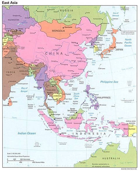 east asia map outline. East Asia Political Map 1995