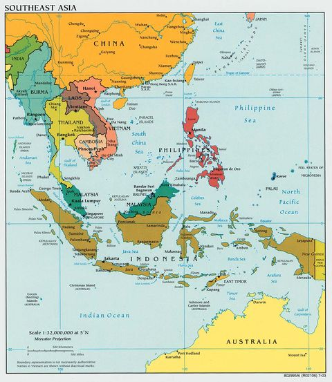 Southeast Asia Political Map 2003