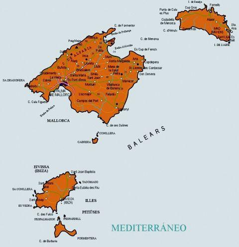 Mapa de carreteras de las islas baleares - Islas de baleares ...