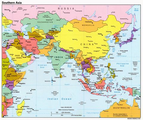 east asia map political. Southern Asia Political Map