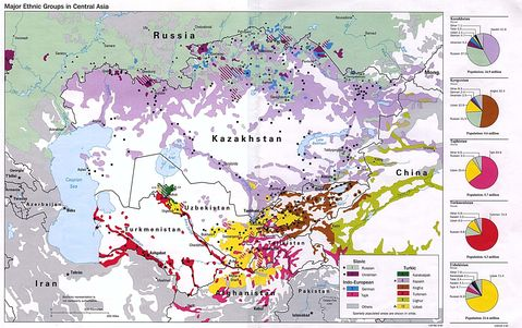 Central Asia Major Ethnic Groups Map 1993