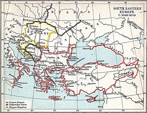 South Eastern Europe Map 1040 A.D.