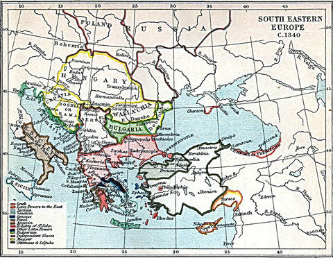 South Eastern Europe Map 1340 A.D.