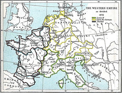 Carolingian Empire after the Treaty of Meerssen 870