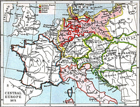 1871 map of europe. Central Europe Map 1871 A.D.