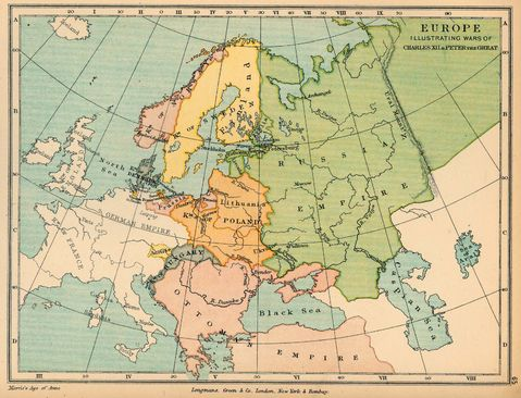 A map of Europe in 1721, after the Treaty of Nystad.