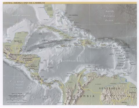 Central America and the Caribbean physical map 1999