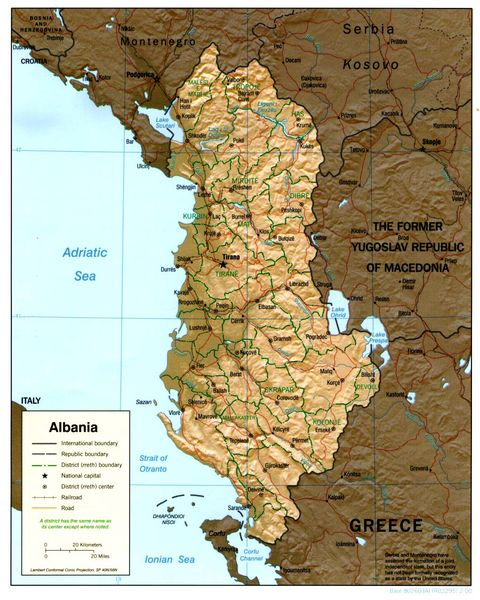 Albania Physical Map 2000