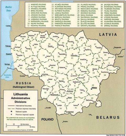 Lithuania Administrative Divisions 1998