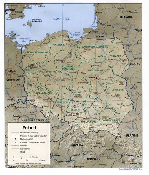 maps of poland. physical maps of poland.