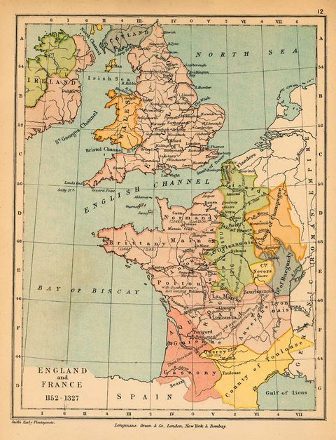 map of france and england. Map of England and France 1152