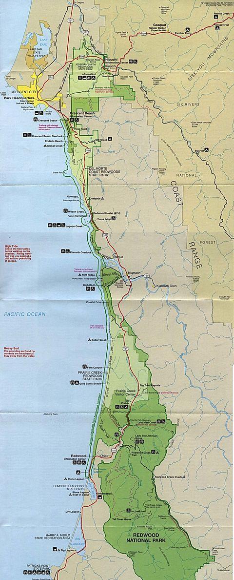 Mapa Del Parque Nacional Redwood California Estados Unidos