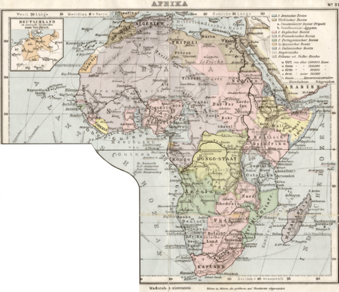 Historical map of Africa 1905