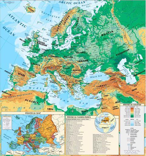 mapa europa fisico. Mapa físico de Europa