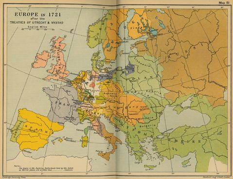 Europe in 1721 after the Treaties of Utrecht & Nystad
