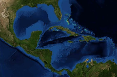 Central America and the Caribbean satellite map