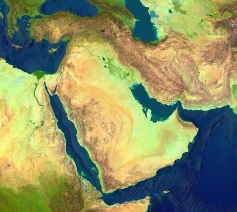 Mapa del Oriente Medio (satelital)