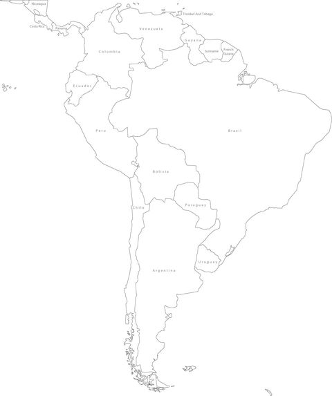 blank map of south america and central america. South America Political
