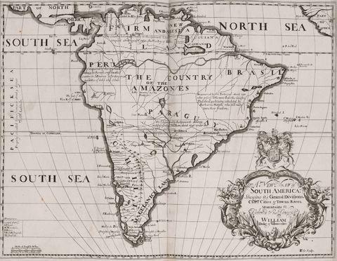 Historical map of South America 1704