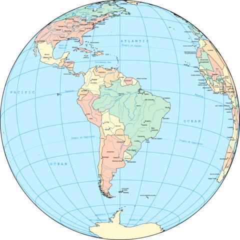 América del Sur en el globo