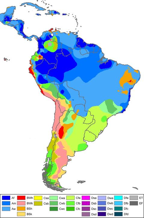Latin America Climate Map 113