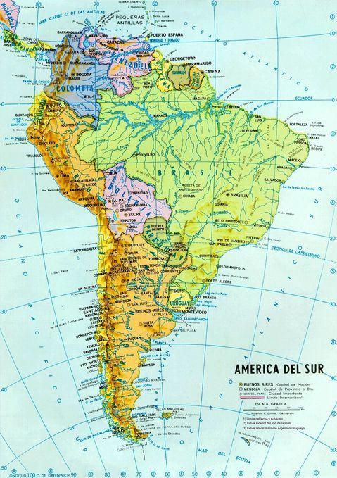 Mapa Político y hidrográfico de América del Sur