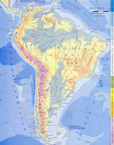 Physical Map Of South American